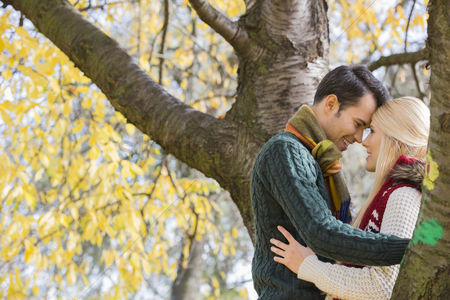 Love : Side view of young couple hugging near autumn tree in park