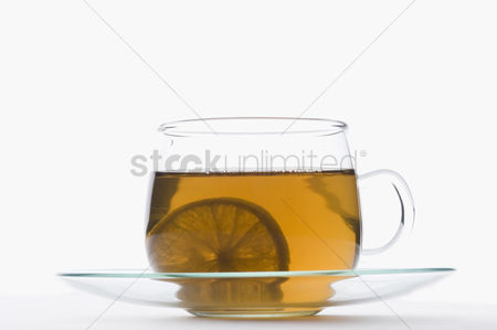 Excited : Slice of lemon in a cup of herbal tea