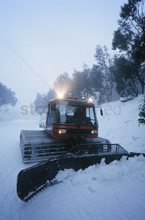 Pushing : Snow clearing tractor mt  baw baw victoria australia