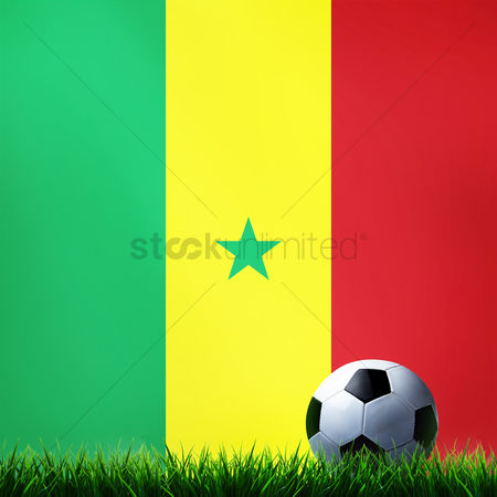 d9aa613fb4c 2089208 Senegal   Soccer ball with senegal flag