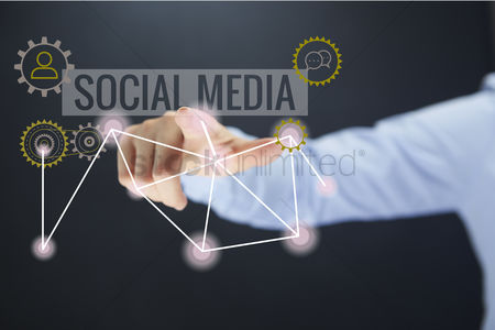 Points : Social media infographic with hand gesture