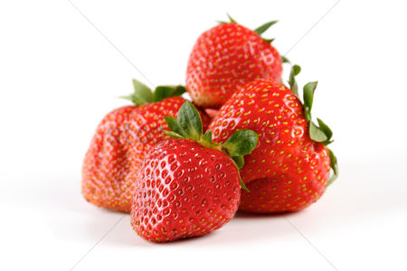 Refreshment : Studio shot of strawberries on white background