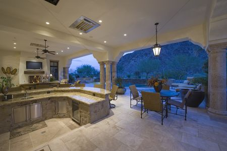 Outdoor : Sunken kitchen area of split level kitchen in palm springs home