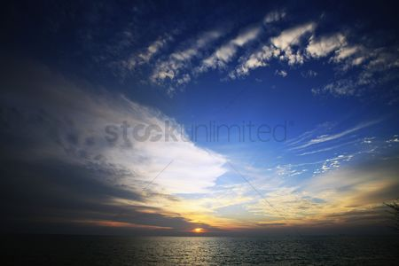 No people : Sunset behind clouds over the ocean
