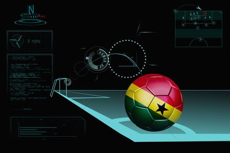 Nationality : Taking a corner infographic with ghana soccer ball