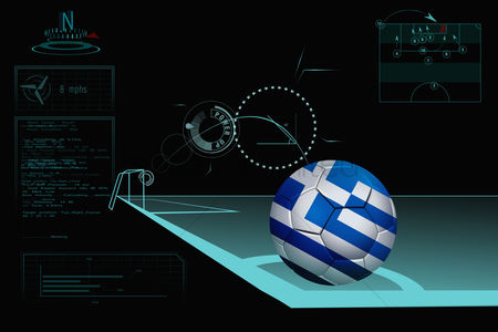 Nationality : Taking a corner infographic with greece soccer ball