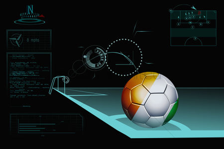 Nationality : Taking a corner infographic with ivory coast soccer ball