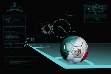 Nationality : Taking a corner infographic with mexico soccer ball