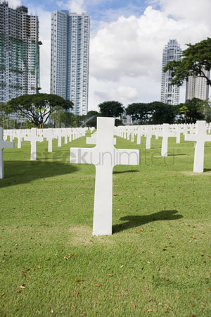 Religion : The american memorial cemetery with buildings in background manila philippines