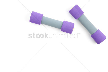 Muscle training : Top view of dumbbells on white background with copy space