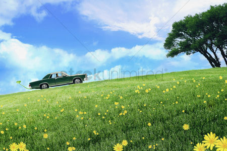 Grass : Toy man driving toy car with leaf in exhaust pipe driving up a mountain