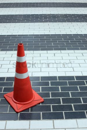 Forbidden : Traffic cone on the pavement