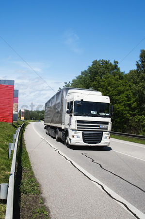 On the road : Truck moving on the road  cesky krumlov  south bohemian region  czech republic