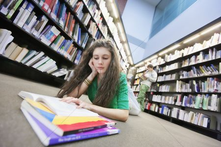 University : University student studying in library