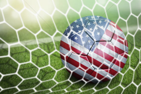 Pitch : Usa soccer ball in goal net
