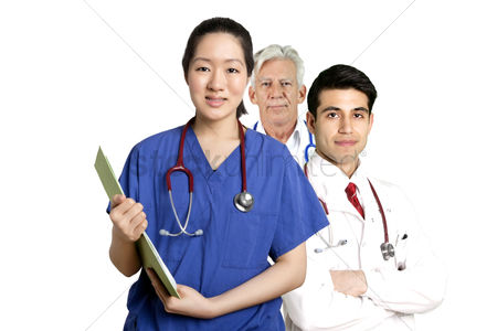 Asian : Various doctors standing in front of white background