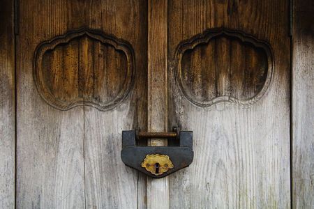 Weathered : Weathered wood door and old lock