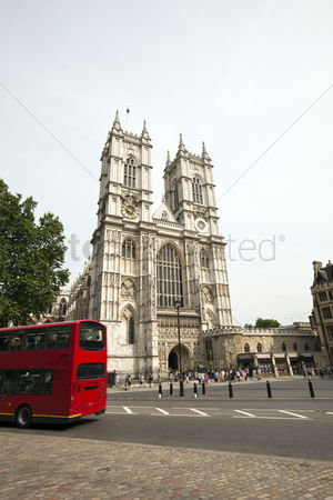 England : Westminster abbey and blue sky