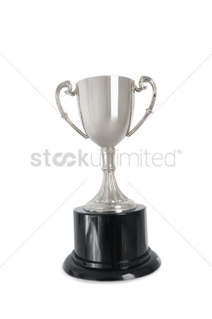 First : Winning trophy over white background