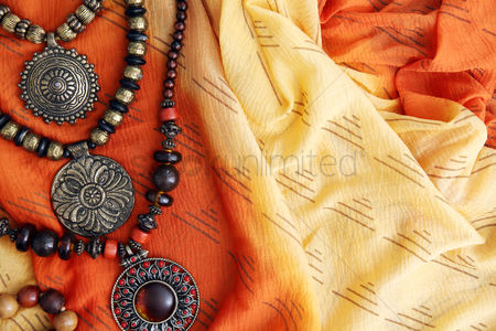 Traditional clothing : Woman fashion accessories with copy space