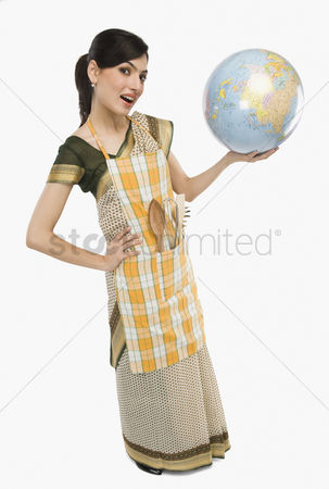Housewife : Woman holding a globe