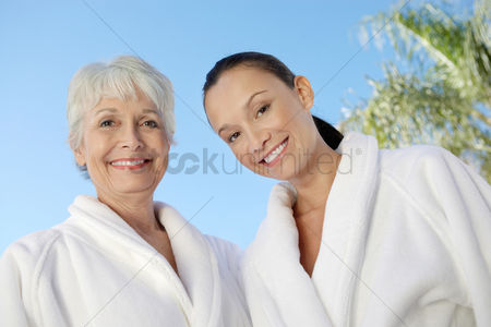 Club : Woman in bathrobes at spa head and shoulders