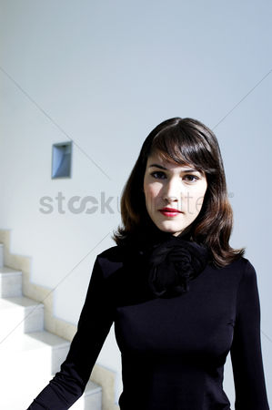 Stairs : Woman in black blouse