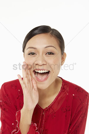 Traditional clothing : Woman in traditional clothing shouting