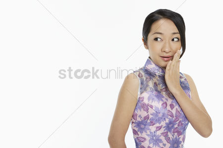 Traditional clothing : Woman in traditional clothing with a surprised facial expression