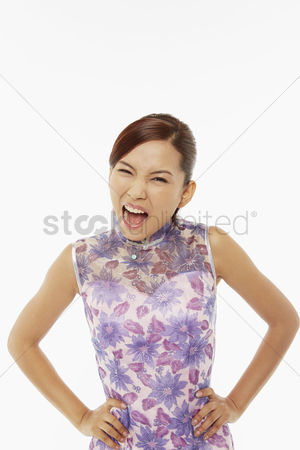 Lunar new year : Woman in traditional clothing with an angry expression
