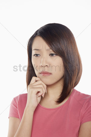 Frowning : Woman looking very sad
