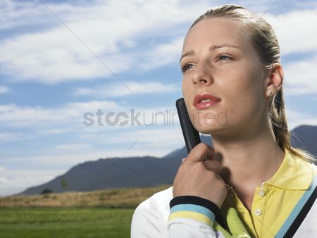 Wondering : Woman on golf course