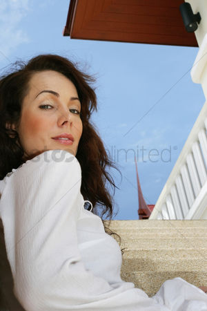 Staircase : Woman sitting on the staircase