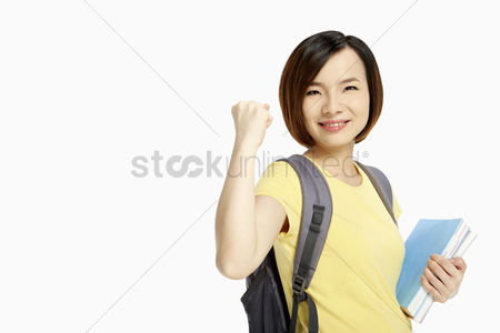 China : Woman smiling and cheering