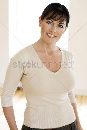 Aging process : Woman smiling at the camera