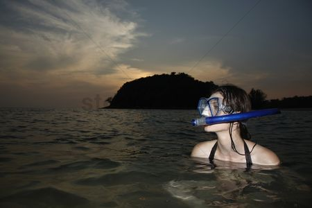 Diving : Woman with scuba mask in sea