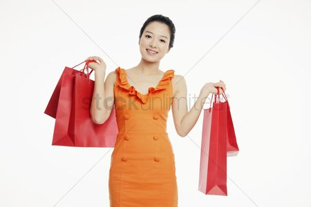 Shopping background : Woman with shopping bags