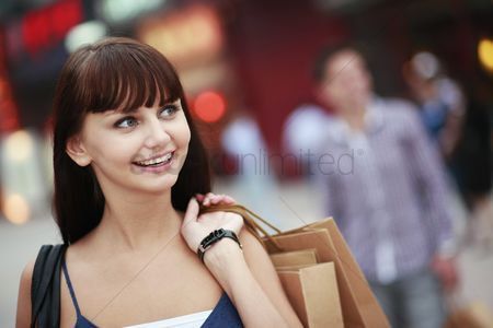 Eastern european ethnicity : Woman with shopping bags