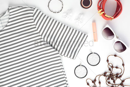 Sets : Women s clothing and accessories on white background