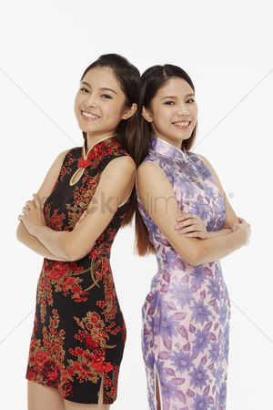 Lunar new year : Women standing with their backs facing each other
