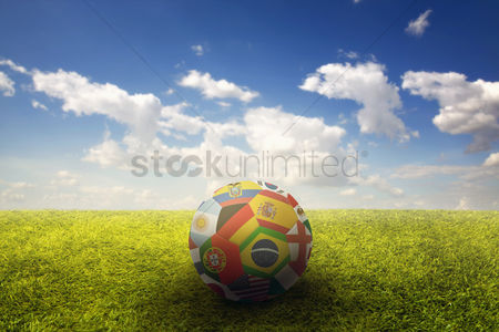 Croatia : World flags soccer ball on a playing field