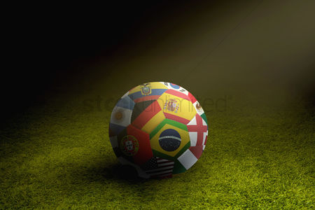 Hexagon : World flags soccer ball on a playing field