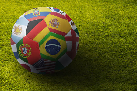 Match : World flags soccer ball on a playing field