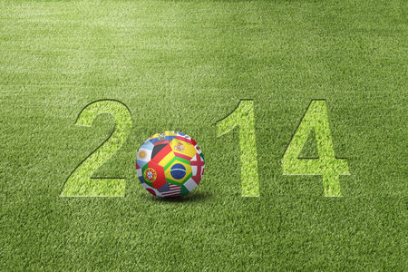 Pitch : World flags soccer ball with 2014 text