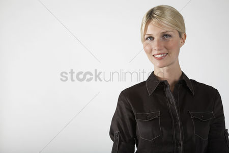 Office worker : Young businesswoman on white background portrait