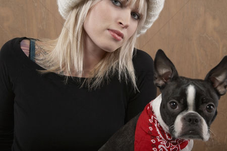 Animal head : Young woman with french bulldog portrait close-up